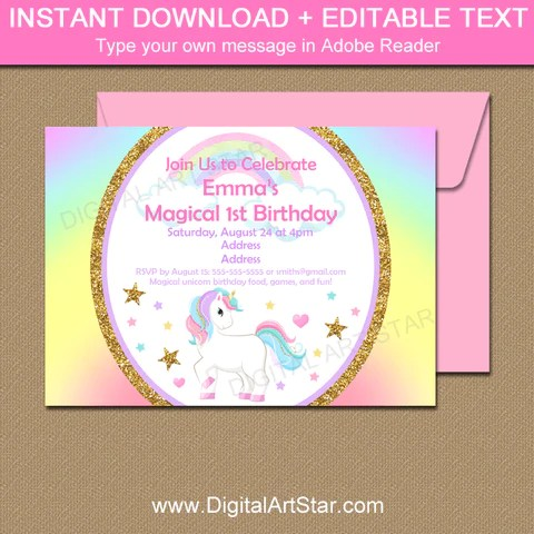 unicorn birthday gift tags with