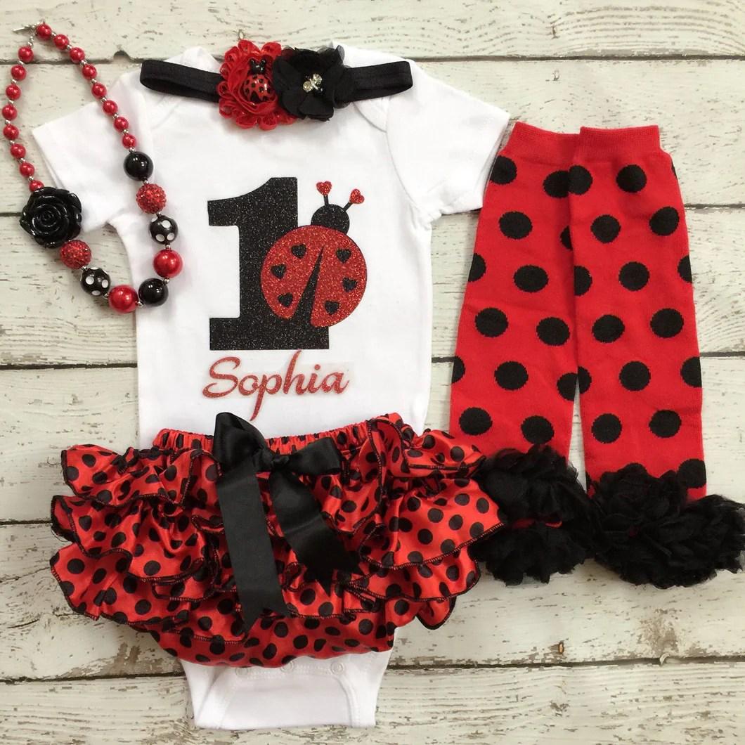 Ladybug First Birthday Outfit 1st Birthday Cakesmash Ladybug Gard Babytrendzz