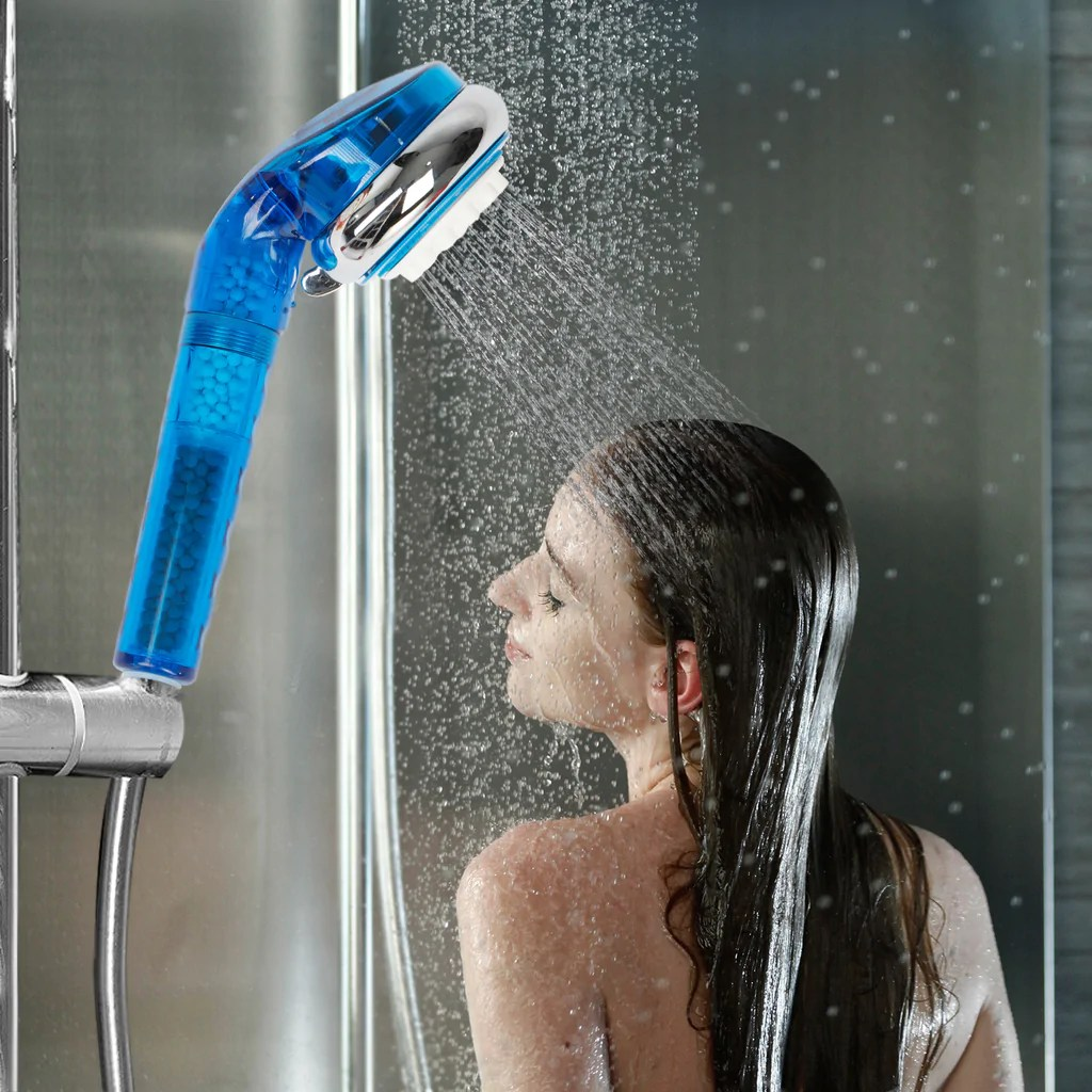 4 Stage Universal Handheld Showerhead Filter Remove Hardness Chlorine Add Vitamin C 2 Filters Included