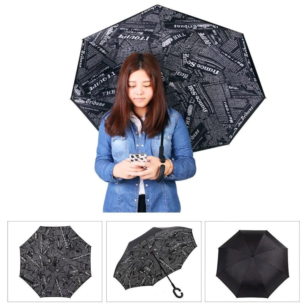 parapluie a illustration journal pas cher de couleur noir