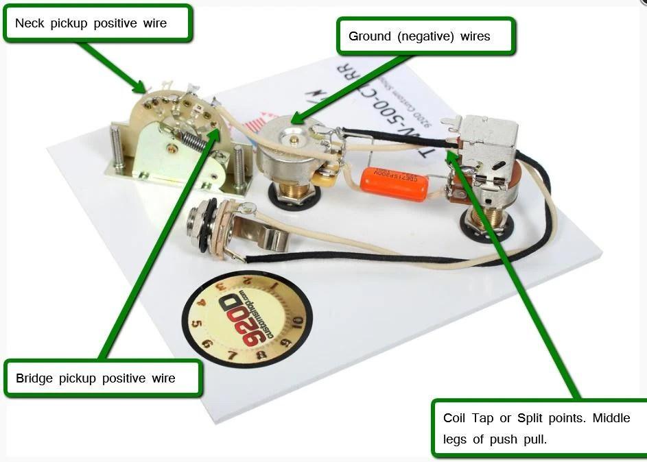 Fender Tele 3 Way Wiring Harness 500K Long Shaft Pots