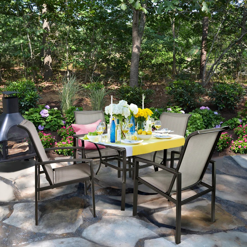 barton 5 piece outdoor patio dining 1 table and 4 chairs set outdoor furniture
