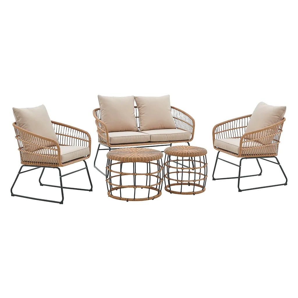 5 pieces outdoor patio sets rattan chairs with 2 side table sofa sets thick cushion seating and back set beige