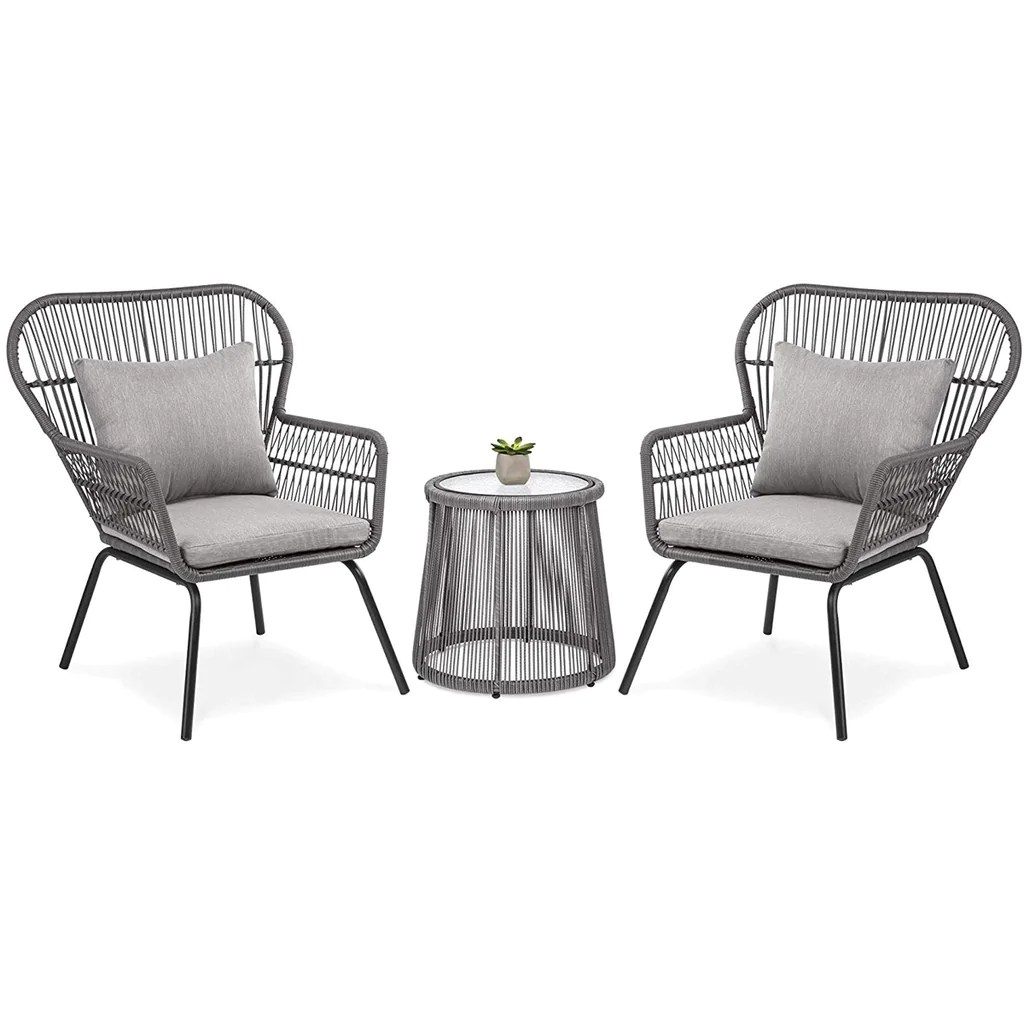 outdoor patio wicker 3 piece chat set 2 chairs table cushions deck backyard