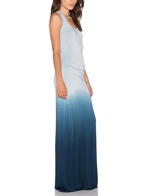 Boho Tank Top Casual Maxi Long Gradient Dress