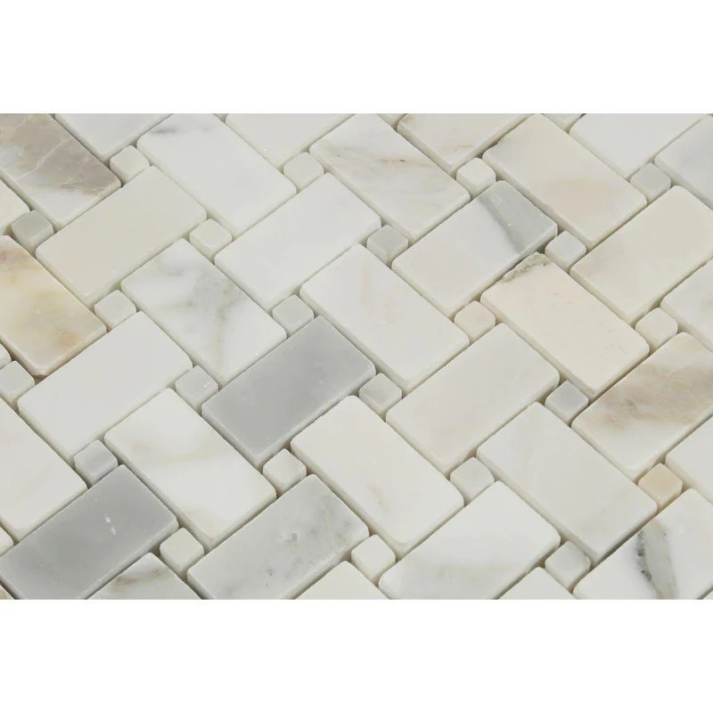 calacatta gold calcutta marble basketweave mosaic tile with gold dots