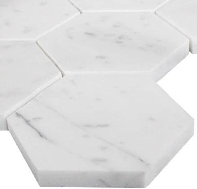 carrara carrera white marble 4 inch 4x4 hexagon mosaic tile sample