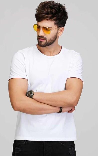 0d98530c3 White T Shirt For Men Designed With Maroon Aelomart