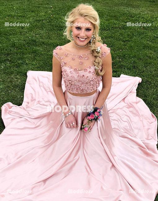 f3535249e46 2 Pieces Long Prom Dresses Flowers Evening Dresses A Line Formal