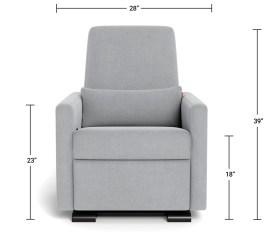Modern Nursery Glider Chair - Grano Glider Recliner Dimensions Front View