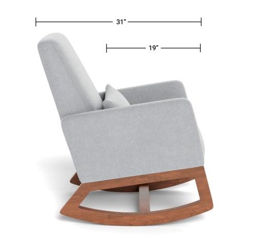 Modern Nursery Glider Chair - Luca Glider Chair Dimensions Side View