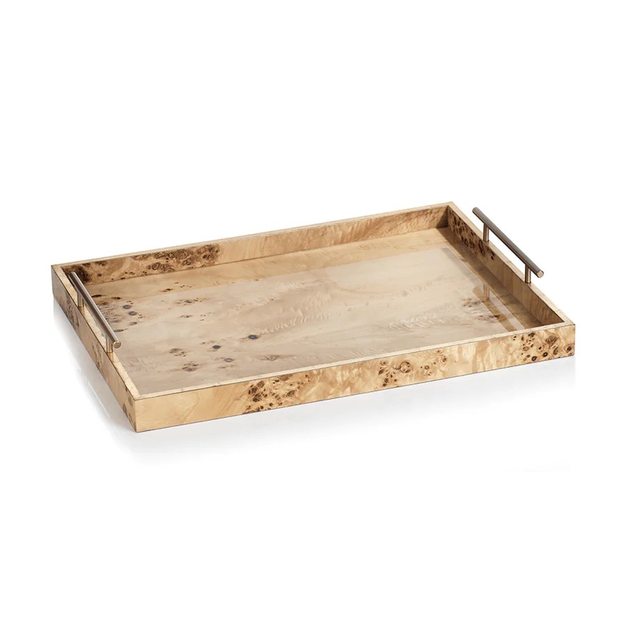 suri burl wood rectangular tray with gold handles