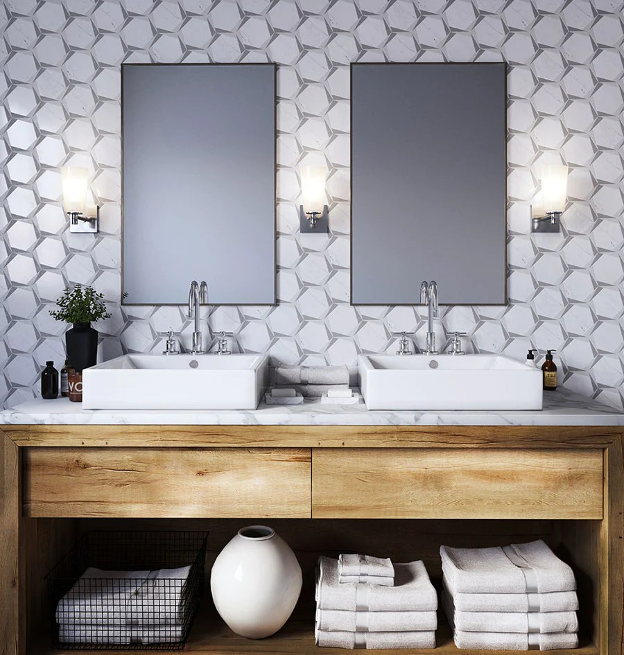 geometric bathroom tiles and styling