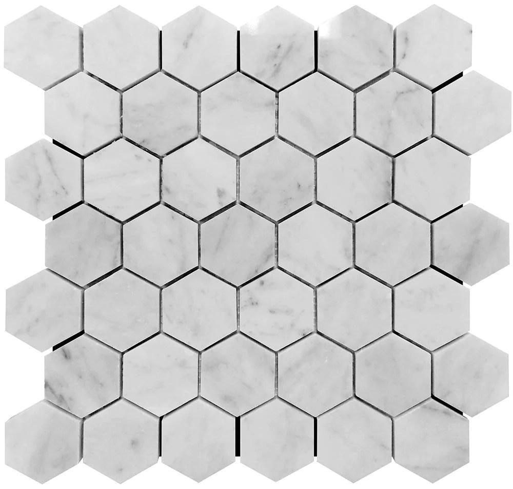 2 inch white carrara hexagon polished marble mosaic tile