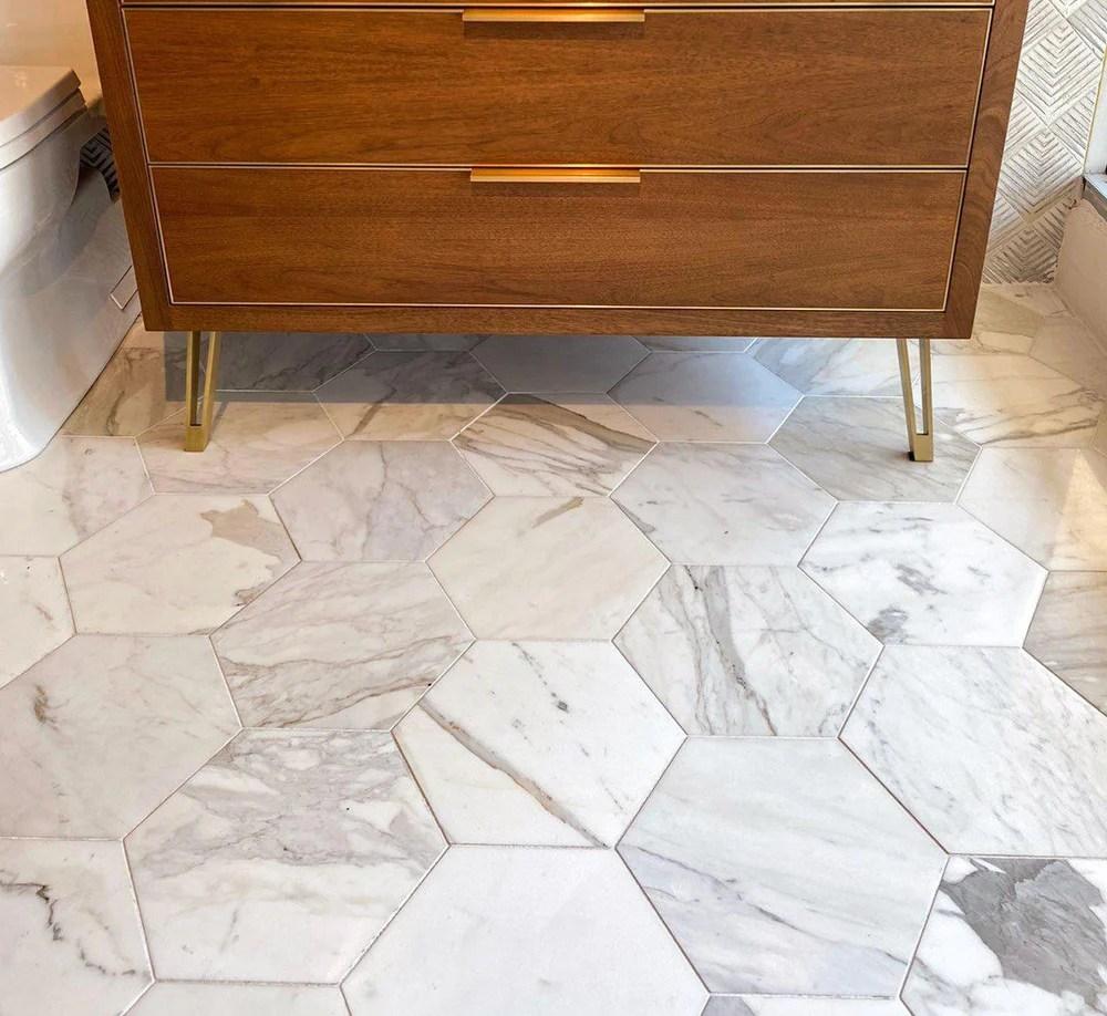 10 calacatta gold hexagon tile honed