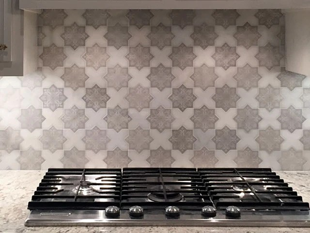 moroccan star cross white etched marble mosaic tile