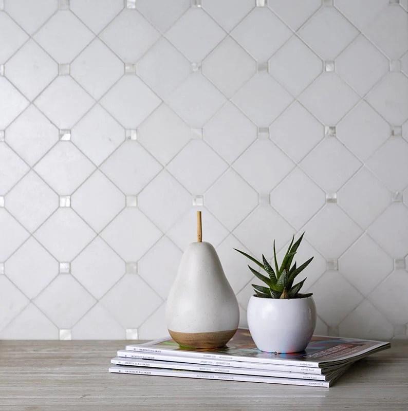 square rombus pearl white thassos shell tile