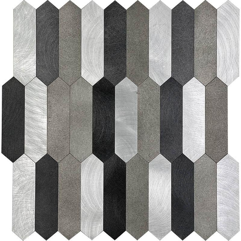 silver grey and black picket peel and stick tile