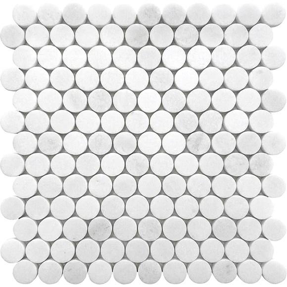 penny round tile backsplash floor