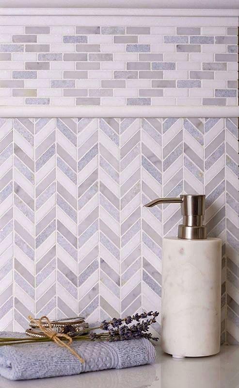 thassos carrara and azul cielo mini chevron marble mosaic tile