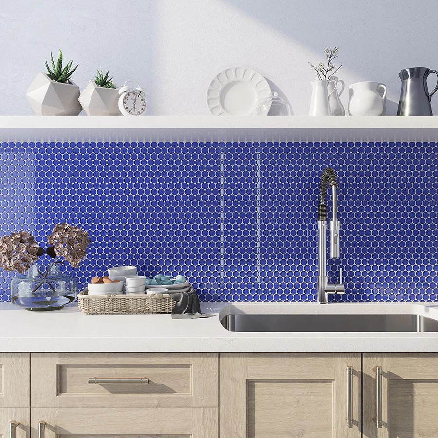 cobalt blue penny round glass tile