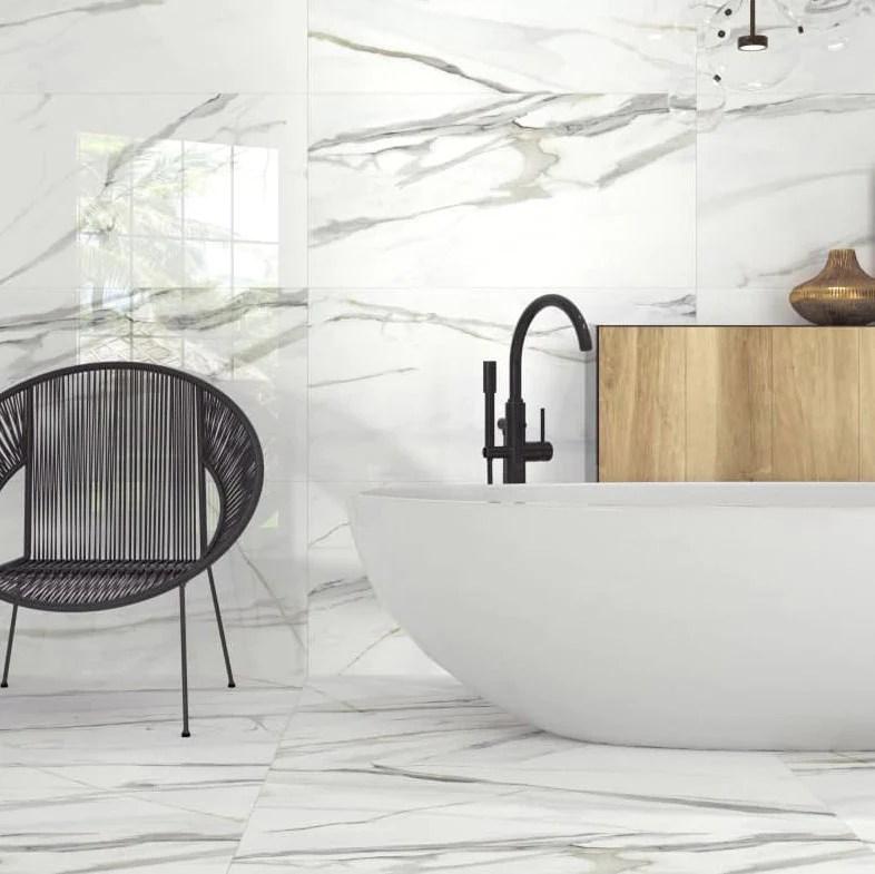 emporio polished calacatta marble porcelain tile 24x48