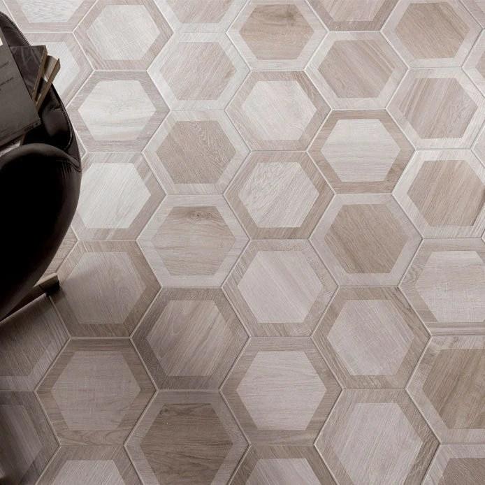 esagona intarcio nut wood look porcelain tile
