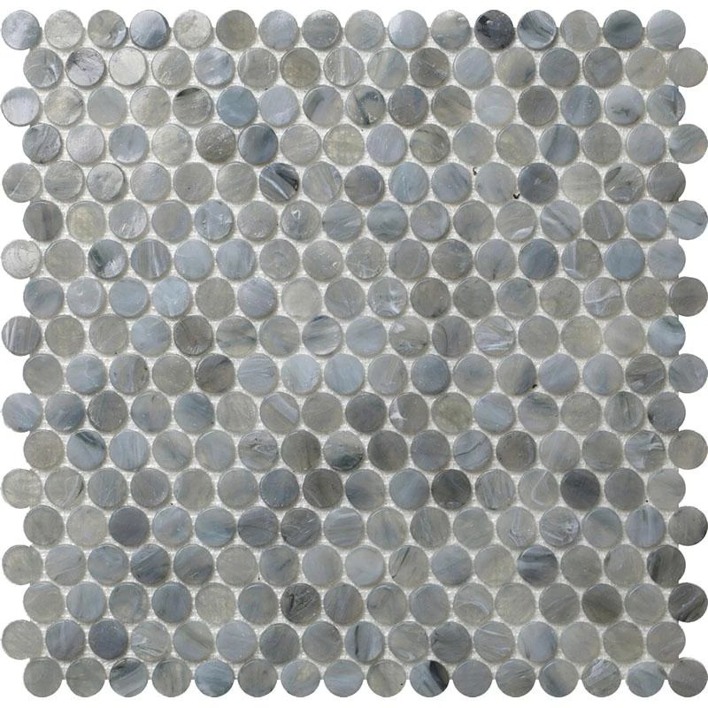 mixed gray glass penny round mosaic tile