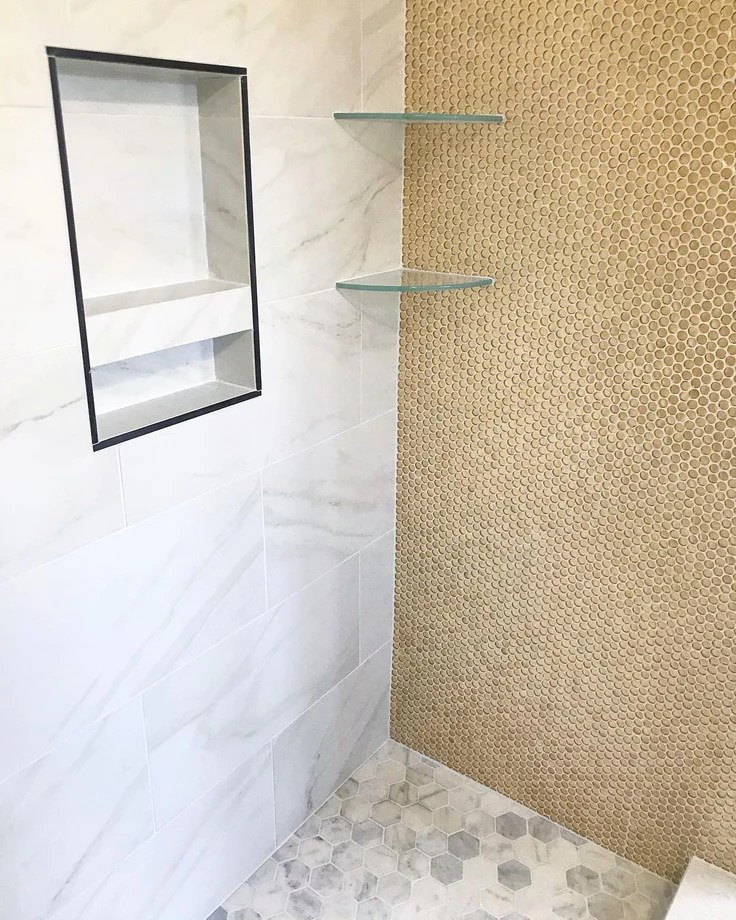 gold glass penny round mosaic tile