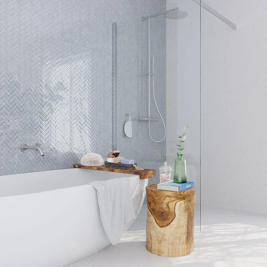 pearl gray herringbone glass tile
