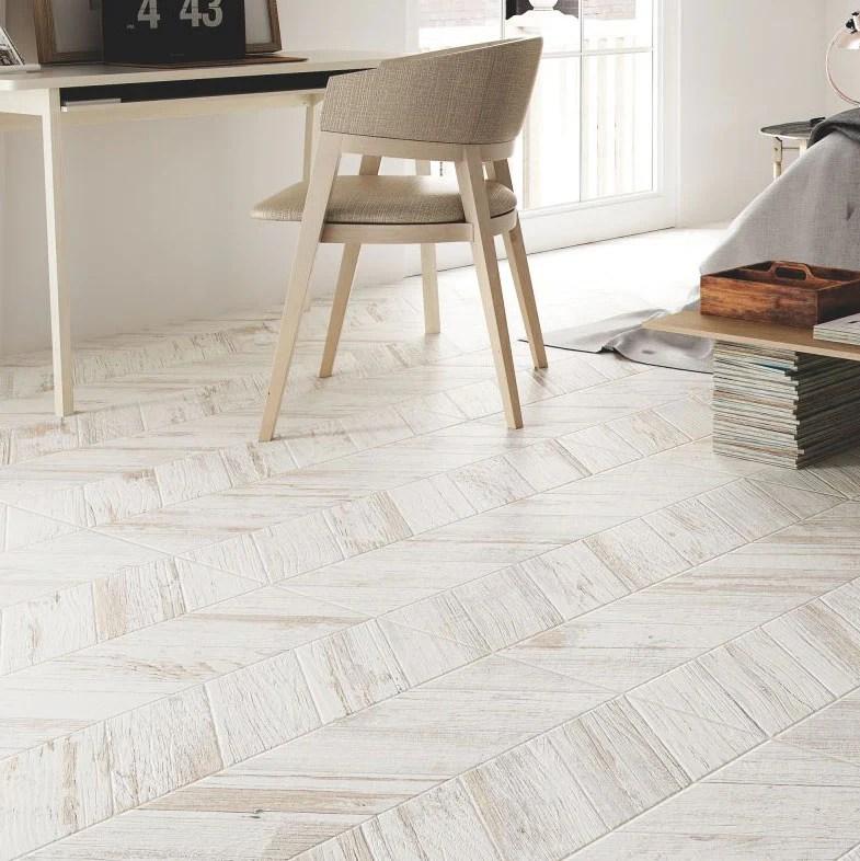 spiga olson blanco wood look chevron porcelain tile