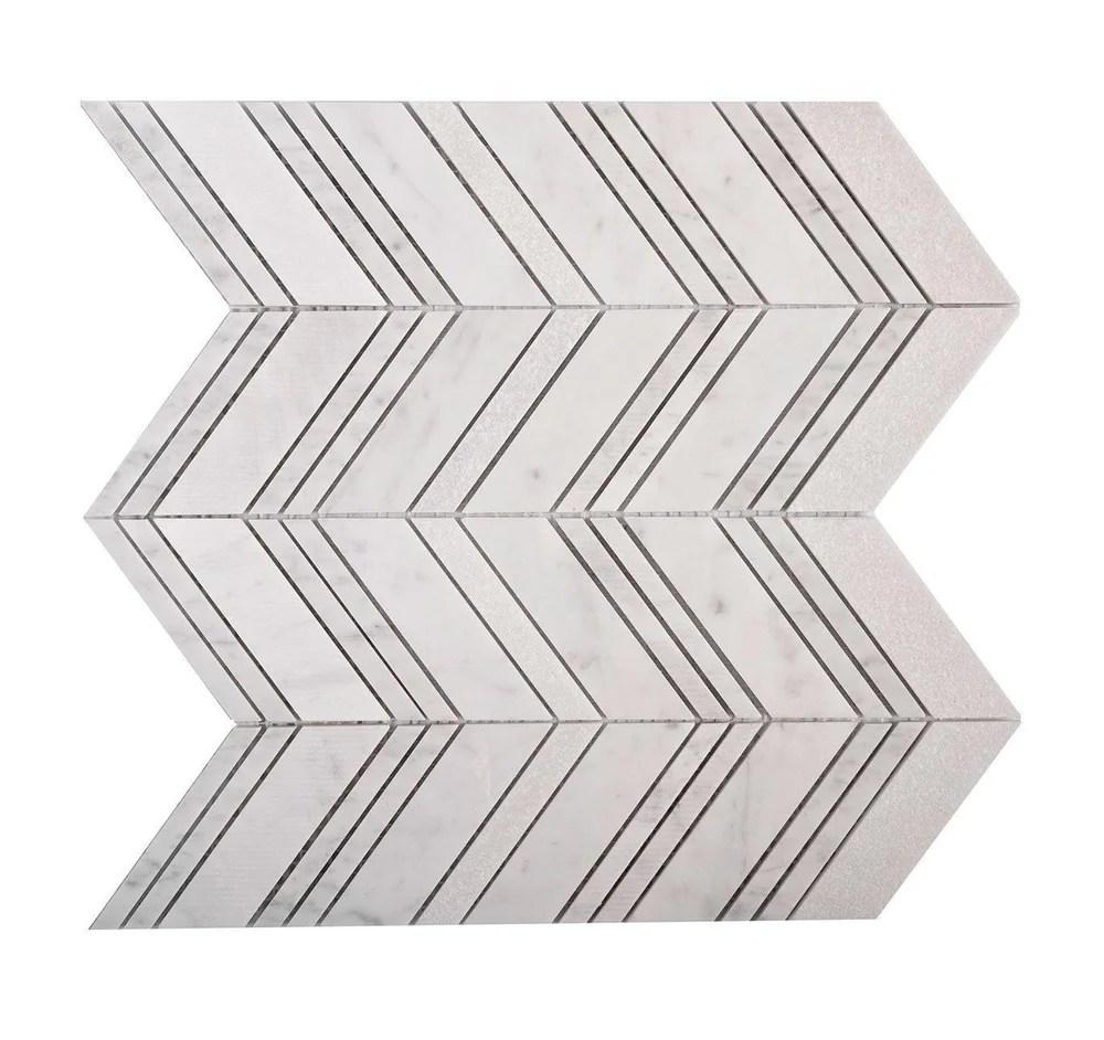 textured carrara chevron marble mosaic tile
