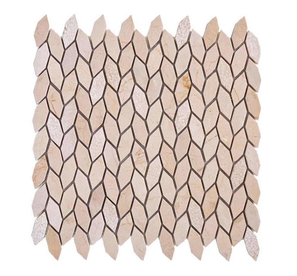 textured crema marfil leaf marble mosaic tile