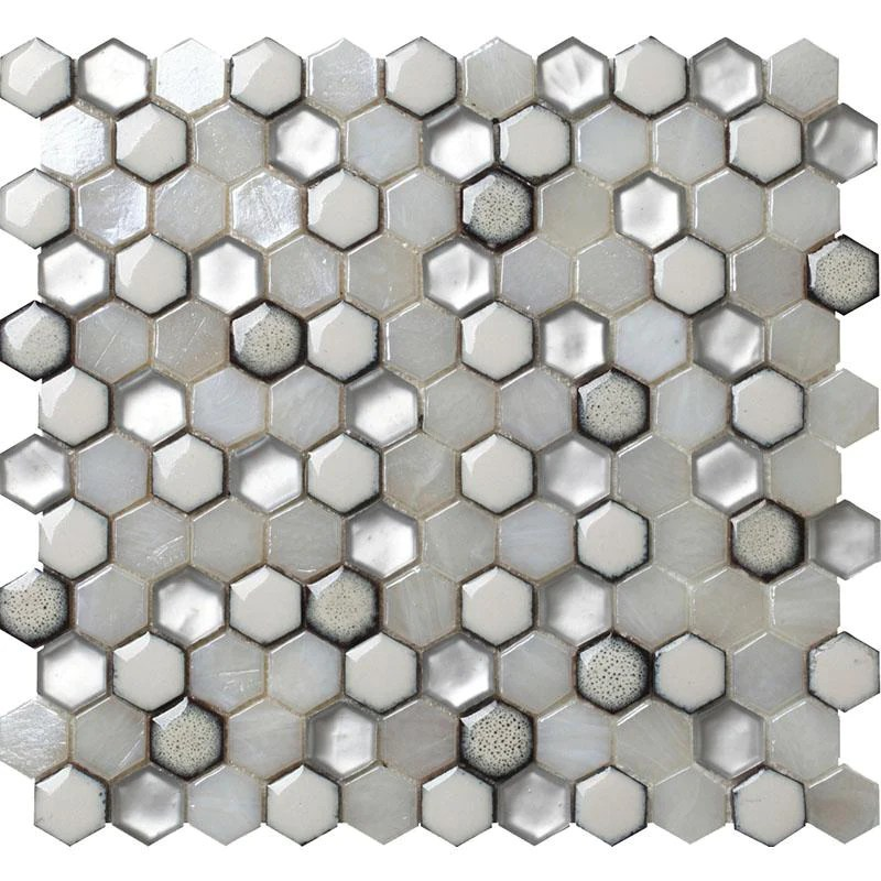white ceramic and pearl glass hexagon mosaic tile