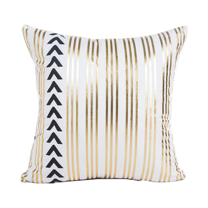 stripe gold print cushion cover