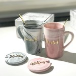 Pink Tall Marble Mug With Lid Cover Gold Spoon Black Box Mydreamvibe Co