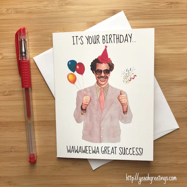 Funny Borat Birthday Card Ali G Borat Internet Meme Card
