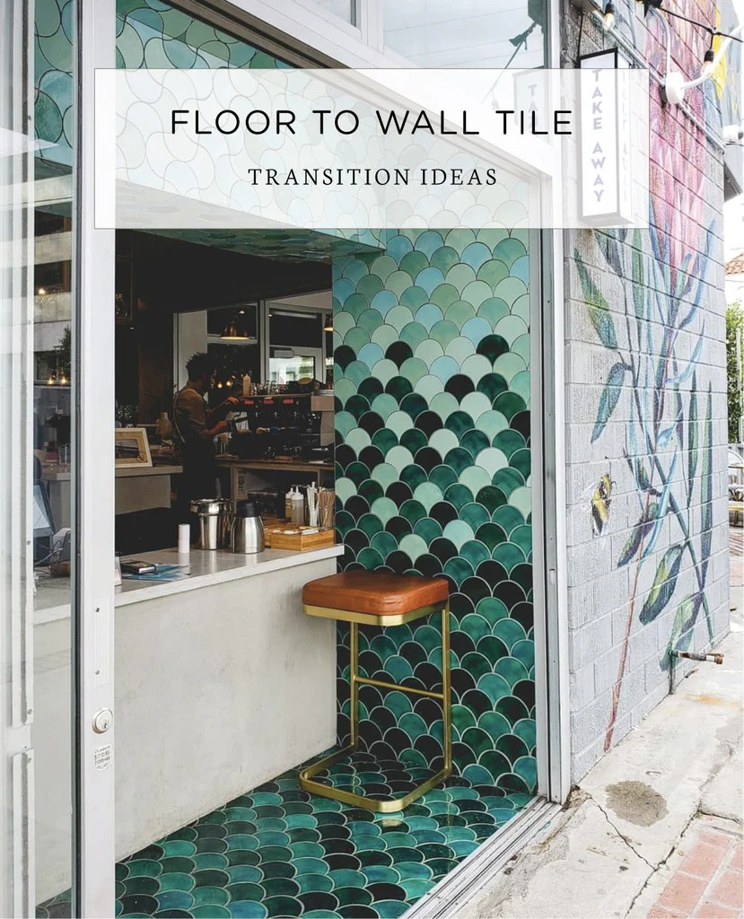 floor to wall tile transition ideas