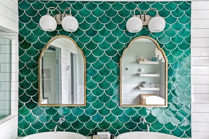 sea green moroccan fish scale tiles ceramic tile mercury mosaics