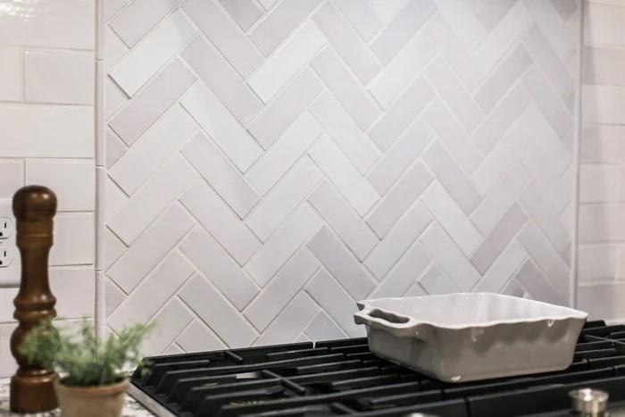 2 x6 white herringbone mosaic tile