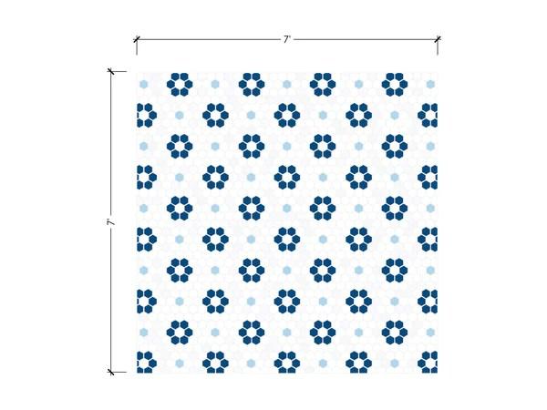 blue white flower pattern tile