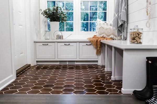 large espresso hexagon tile brown