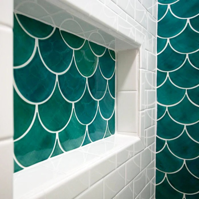 sea green moroccan fish scale tiles
