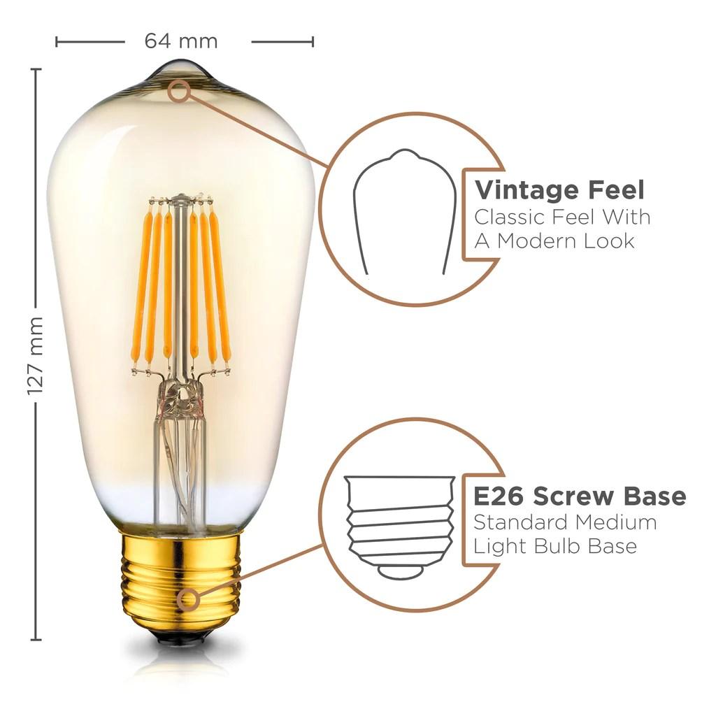 vintage led edison light bulbs 2200k amber warm