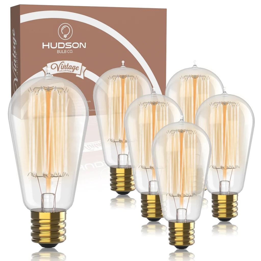 vintage incandescent edison bulbs st58 2100k amber warm