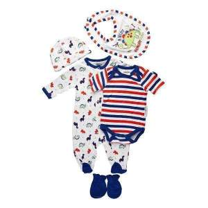 Set nou-nascuti 5 piese bebe: costumaș de dormit, body cu mânecă scurtă, căciuliță, bavetă și mănuși. Bumbac de calitate superioară, moale și confortabil. Mărimi pentru 0-6 luni. Compoziție: 100% bumbac.