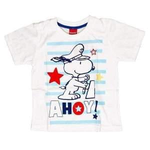 Tricou Snoopy copii,din bumbac, imprimeu cățelul Snoopy. Mărimi pentru 3-8 ani. Culori: albastru și gri. Compoziție: 100% bumbac.