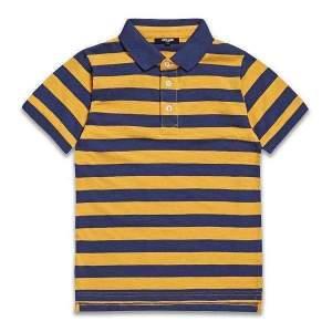 Tricou polo dungi copii bumbac,in dungi galben cu bleumarin, pentru baieti, cu guler si nasturi, potrivit pentru școală și pentru timpul liber. Mărimi pentru 8-14 ani. Compoziție: 100% bumbac.