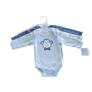 Set body bebe bumbac, baieti, cu mânecă lungă, model Monkey sau Cool, prevăzute cu capse pentru o mai ușoară utilizare. Mărimi pentru 0-9 luni. Compoziție 100% bumbac. Respectați instrucțiunile de spălare de pe etichetă.