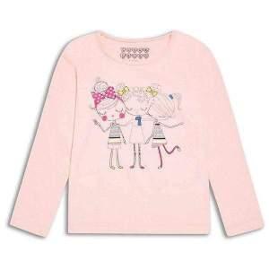 Bluză subțire cu mânecă lunga, cu model fetițe, din bumbac. Mărimi pentru 2-8 ani. Culori: roz. Compoziție: 100% bumbac.